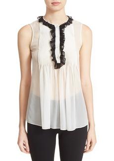 Diane von Furstenberg 'Betsy' Pleated Tie Neck Silk Top