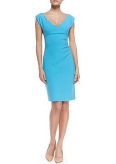 Diane von Furstenberg Bevin Short Sleeve Ruched Waist Dress, Aztec Blue