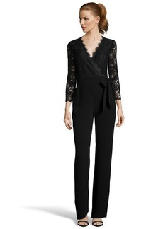 Diane Von Furstenberg black lace and crepe 'Marlowe' wrap-front jumpsuit