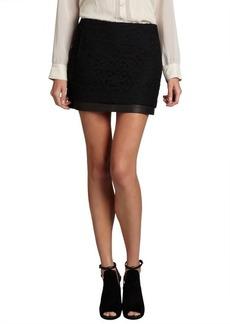 Diane Von Furstenberg black lace and leather 'Elley' mini skirt