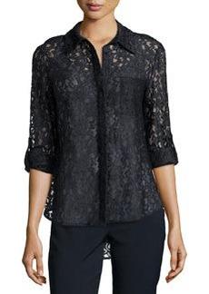 Diane von Furstenberg Black Lace Shirt with Tab Sleeves