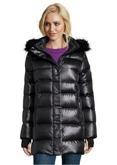 Diane Von Furstenberg black quilted faux fur trim hooded down coat