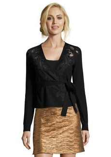 Diane Von Furstenberg black wool lace embroidred ballerina wrap cardigan