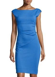 Diane von Furstenberg Boat-Neck Cap-Sleeve Dress, Blue Iris