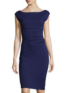 Diane von Furstenberg Boat-Neck Cap-Sleeve Dress, Purple Haze