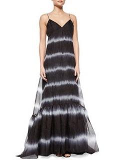 Diane von Furstenberg Bria Tie-Dye Chiffon Maxi Dress, Black/White