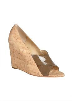 Diane Von Furstenberg brown patent and cork 'Tafari' covered wedges