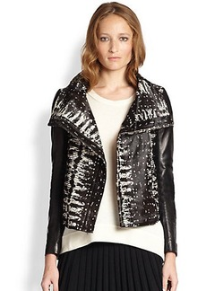 Diane von Furstenberg Calf Hair & Leather Moto Jacket