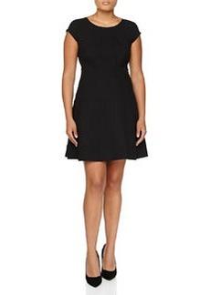 Diane von Furstenberg Cap-Sleeve Fit-and-Flare Dress, Black
