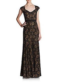 Diane von Furstenberg Cap-Sleeve Lace Gown