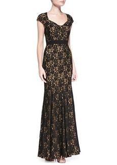 Diane von Furstenberg Cap-Sleeve Lace Mermaid Gown
