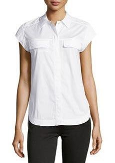 Diane Von Furstenberg Cap-Sleeve Poplin Blouse, White
