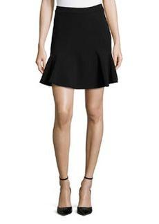 Diane von Furstenberg Carlita Seam-Detailed Flounce Skirt, Black