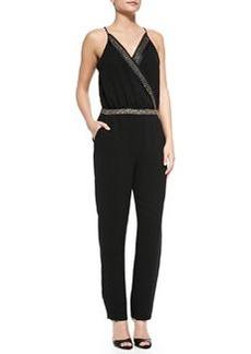 Diane von Furstenberg Caroline Embellished Surplice-Top Jumpsuit
