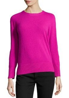 Diane von Furstenberg Cashmere-Blend Back-Zip Sweater, Gardenia
