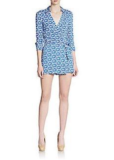 Diane von Furstenberg Celest Printed Short Wrap Jumpsuit