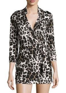Diane von Furstenberg Celeste Cheetah-Print Jersey Short Jumpsuit