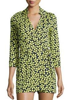 Diane von Furstenberg Celeste Floral Romper Dress, Lime