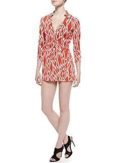 Diane von Furstenberg Celeste Ikat-Print Skort Jumpsuit