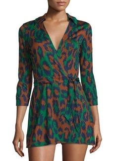 Diane von Furstenberg Celeste Leopard-Print 3/4-Sleeve Romper