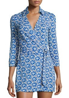Diane von Furstenberg Celeste Printed 3/4-Sleeve Jumpsuit, Lace Petals Blue