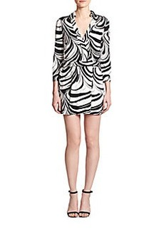 Diane von Furstenberg Celeste Wrap Printed Silk Short Jumpsuit