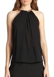 Diane von Furstenberg Chain-Collar Silk Halter Top