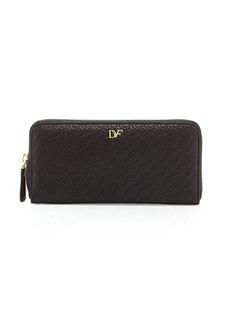 Diane von Furstenberg Chain-Link Quilted Continental Zip Wallet, Black