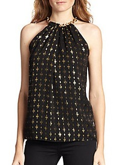 Diane von Furstenberg Chain-Trimmed Metallic-Patterned Top
