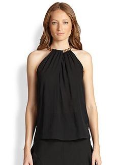 Diane von Furstenberg Chained-Collar Silk Halter Top