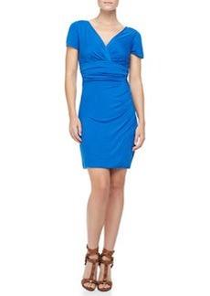 Diane von Furstenberg Chelsea Short-Sleeve Ruched Dress, Dark Lapis