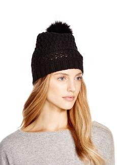 DIANE von FURSTENBERG Chunky Hat with Fox Fur Pom-Pom