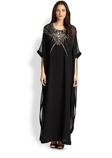 Diane von Furstenberg Clare Beaded Silk Caftan Maxi Dress
