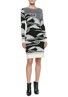 Diane von Furstenberg Cloud Wave-Print Sweaterdress
