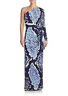 Diane von Furstenberg Coco Snakeskin-Print Silk One Sleeve Wrap Maxi Dress