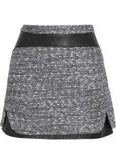 Diane von Furstenberg Coletta leather-trimmed tweed skirt