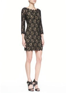 Diane von Furstenberg Colleen 3/4-Sleeve Lace Dress