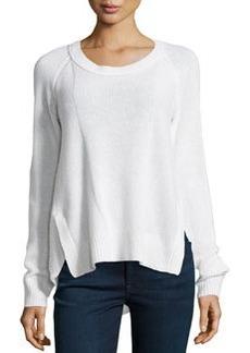 Diane von Furstenberg Combo-Knit Cashmere Sweater, New Pearl
