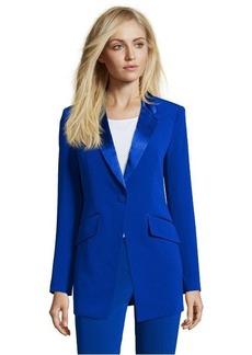 Diane Von Furstenberg cosmic cobalt stretch crepe 'Cady' single button boyfriend blazer