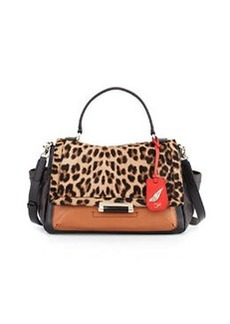 Diane von Furstenberg Courier Colorblock Satchel Bag, Leopard/Saddle/Black