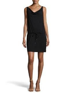 Diane von Furstenberg Cowl-Neck Drawstring Dress, Black