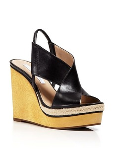 DIANE von FURSTENBERG Criss Cross Strap Sandals - Gladys Wedge High Heel