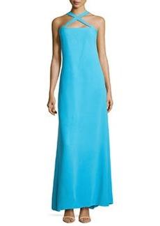 Diane von Furstenberg Crisscross Halter Silk Maxi Dress, Aztec Blue