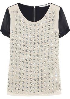 Diane von Furstenberg Crystal-embellished silk-chiffon top