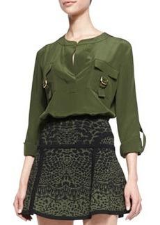 Diane Von Furstenberg Danielle Flap-Pocket Blouse, Olive Green Nite