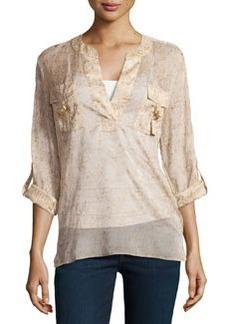 Diane Von Furstenberg Danielle Long-Sleeve Metallic-Print Crepe Shirt, Cork Foil