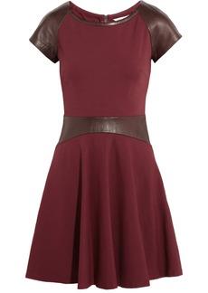 Diane von Furstenberg Delyse leather-trimmed stretch-jersey mini dress