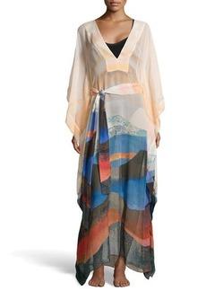 Diane von Furstenberg Dotted Wave-Stripe Chiffon Maxi Coverup, Sand Scape