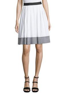Diane von Furstenberg Dru Gingham-Trim A-Line Skirt