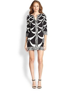 Diane von Furstenberg Dual-Print Shift Dress